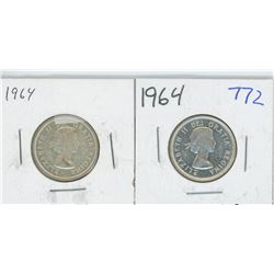 1964, 1964BU CANADIAN 25 CENT PIECES