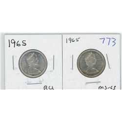 1965 MS63, 1965BU CANADIAN 25 CENT PIECES