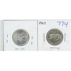 1966 BU, 1967 CANADIAN 25 CENT PIECES