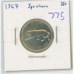1967 SPECIMEN CANADIAN 25 CENT PIECE