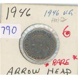 1946 ARROWHEAD CANADIAN FIVE CENT PIECE