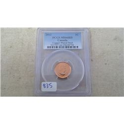 2012 PCGS GRADED COPPER PLATED STEEL ONE CENT PIECE MS66RD