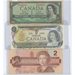 1954, 1973 CANADIAN 1 DOLLAR BANK NOTE 1986 CANADIAN 2 DOLLAR BANK NOTE