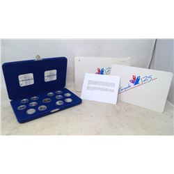 1992 CANADA 125 COIN SET - WITH PROVINCIAL COMMEMORATIVE COINS IN BLUE VELVET CASE