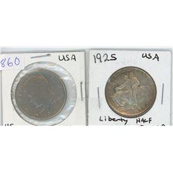 1925 LIBERTY HALF DOLLAR & 1971 USA 50 CENT PIECE