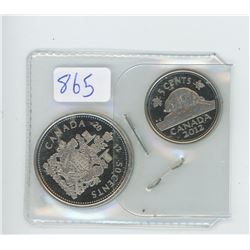 2012 CANADIAN 50 CENT AND 5 CENT COIN