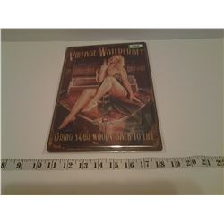 VINTAGE WATECRAFT TIN SIGN EMBOSSED (REPRO)