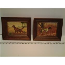 TWO FRAMED PICTURES -VINTAGE HUNTING DOGS