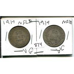 1917, 1919 NFLD 50 CENT