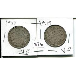1913, 1919 GEORGE V 50 CENT - CANADIAN