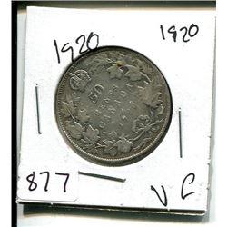 "1920 NARROW ""O"" GEORGE V 50 CENT - CANADIAN"