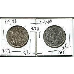 1938, 1940 GEORGE VI 50 CENT - CANADIAN
