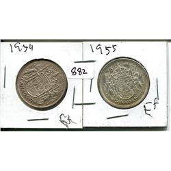 1954, 1955 ELIZABETH II 50 CENT - CANADIAN