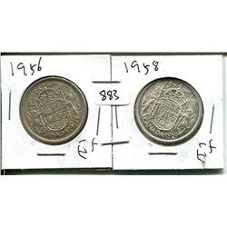 1956, 1958 ELIZABETH II 50 CENT - CANADIAN