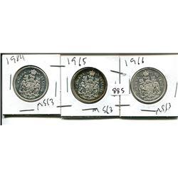 1964, 1965, 1966 ELIZABETH II 50 CENT - CANADIAN