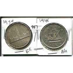 1939, 1949 GEORGE VI CANADIAN SILVER DOLLARS
