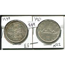 1958, 1961 ELIZABETH II CANADIAN SILVER DOLLARS