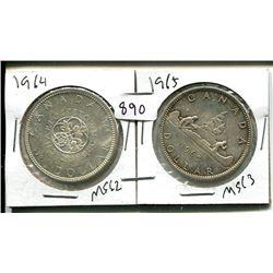 1964, 1965 ELIZABETH II CANADIAN SILVER DOLLARS