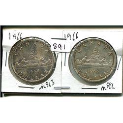 TWO 1966 ELIZABETH II CANADIAN SILVER DOLLARS