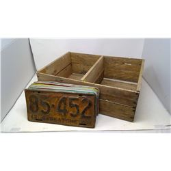 Assorted License Plates w/ Wooden Box