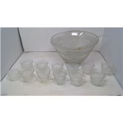 Glass Punch Bowl and Ladle (Include Cups)