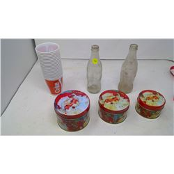 Coca-Cola Items (Tin Can, Plastic Cups, Glass Bottles x2)