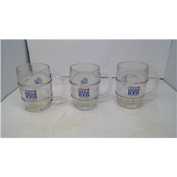 3 Glass Beer Mugs