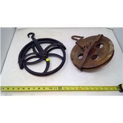 "12"" Vintage Pulley w/ Another Old Pulley"