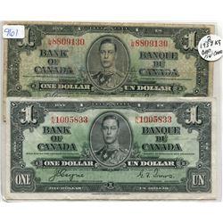 TWO 1937 $1.00 BILLS