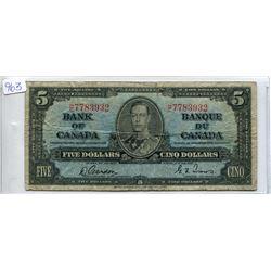 ONE 1937 $5.00 BILL