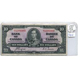 ONE 1937 $10.00 BILL
