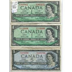 THREE 1954 BILLS (2-$1.00, 1-$5.00)