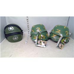 Six Child's Toy Army Helmets