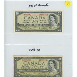 2X 1954 BANK OF CANADA TWENTY DOLLAR BILLS
