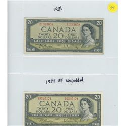 TWO 1954 BANK OF CANADA TWENTY DOLLAR BILLS