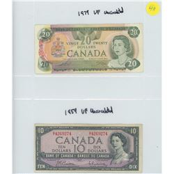 ONE 1979 BANK OF CANADA TWENTY DOLLAR BILL & ONE 1954 BANK OF CANADA TEN DOLLAR BILL