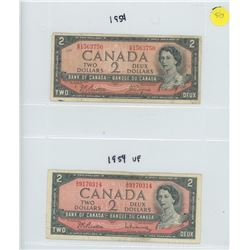 2X 1954 BANK OF CANADA TWO DOLLAR BILLS
