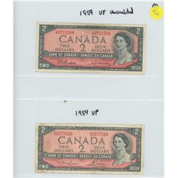 2X 1954 BANK OF CANADA TWO DOLLAR BILLS
