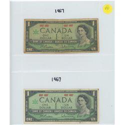1967 BANK OF CANADA CONFEDERATION ONE DOLLAR BILLS