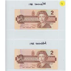 2X 1986 UNCIRCULATED CANADIAN TWO DOLLAR BILLS