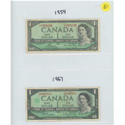 1954 & 1967 BANK OF CANADA ONE DOLLAR BILLS