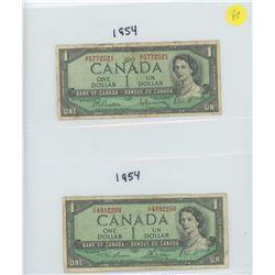 2X 1954 BANK OF CANADA ONE DOLLAR BILLS