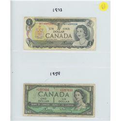 1954 & 1973 BANK OF CANADA ONE DOLLAR BILLS