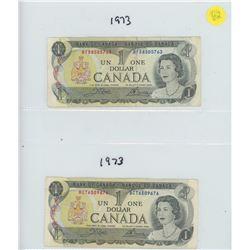2X 1973 BANK OF CANADA ONE DOLLAR BILLS