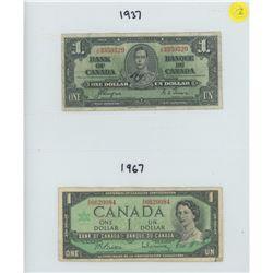 TWO CANADIAN ONE DOLLAR BILLS (1937 & 1967 CONFEDERATION)