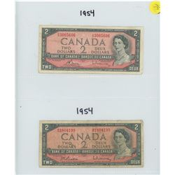 TWO CANADIAN 1954 TWO DOLLAR BILLS