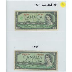 TWO CANADIAN ONE DOLLAR BILLS 1954 & 1967 CONFEDERATION