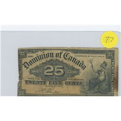 DOMINION OF CANADA 1900 TWENTY-FIVE CENT BILL (MISSING PIECE)