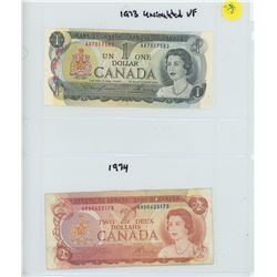 BANK OF CANADA 1973 ONE DOLLAR AND 1974 TWO DOLLAR BILLS