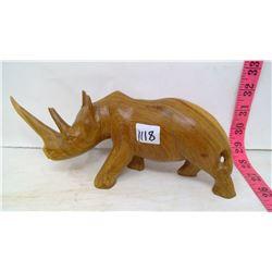 Rhino Wood Carving From Kenya
